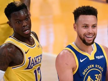 Dennis Schroder y Stephen Curry